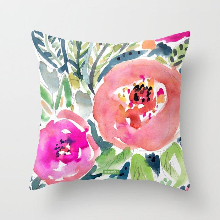 Peach Floral Deko-Kissen