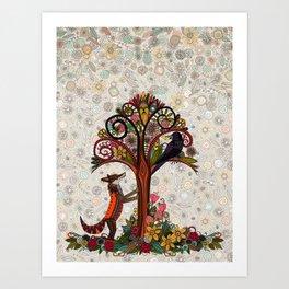fox and crow Art Print