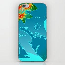 NZ Map With Pohutukawa Fish and Boats iPhone Skin