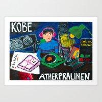 kobe Art Prints featuring KOBE analogue radio station by Falafel Pool