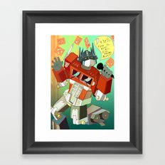 Optimus Prime DARE to keep your dreams alive! Framed Art Print