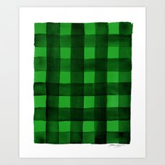 Buffalo Plaid Watercolor in Green Art Print