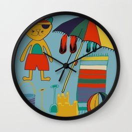 cat at the beach blue Wall Clock
