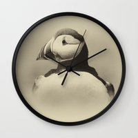 puffin Wall Clocks featuring Puffin by Don Hooper
