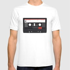 Old School Tape White Mens Fitted Tee MEDIUM