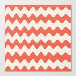 Pantone Living Coral & Cannoli Cream Soft Zigzag Rippled Horizontal Line Pattern Canvas Print