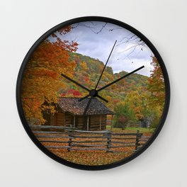 Log Cabin in Autumn Wall Clock