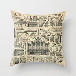 String Instruments Vintage Scientific Illustration French Language Encyclopedia Lithographs Educatio Throw Pillow