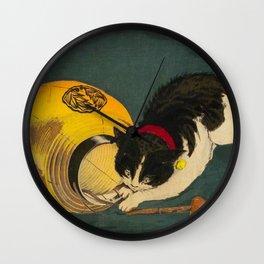 Kobayashi Kiyochika Black & White Cat Fluffy Cat Japanese Lantern Vintage Woodblock Print Wall Clock