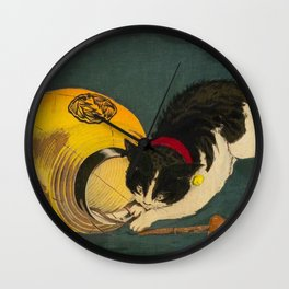 Kobayashi Kiyochika Black & White Cat Fluffy Cat Japanese Lantern Vintage Woodblock Print Wall Clock