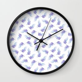 Bohemian hand painted lavender purple watercolor feathers Wall Clock