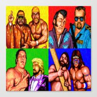 wrestling Canvas Prints featuring Wrestling Superstars by VGPrints
