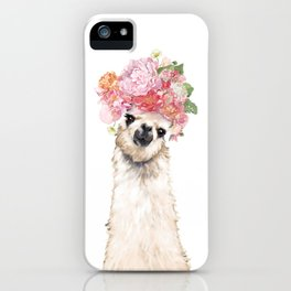 Llama with Beautiful Flowers Crown iPhone Case