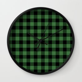 Green Buffalo Plaid  Wall Clock