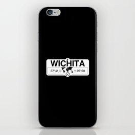 Wichita Map GPS Coordinates Artwork with Compass iPhone Skin