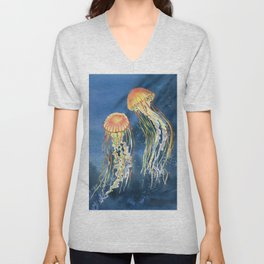 Dancing of Jellyfish Unisex V-Neck