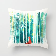 Fox in quiet forest Throw Pillow