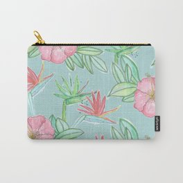 Tropical Flowers Soft Blue Background Carry-All Pouch