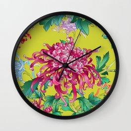 Oriental Flowers Wall Clock