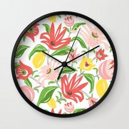 Island Garden Floral Wall Clock