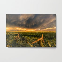 Breadbasket - Golden Light Illuminates Fence and Field in Kansas Metal Print