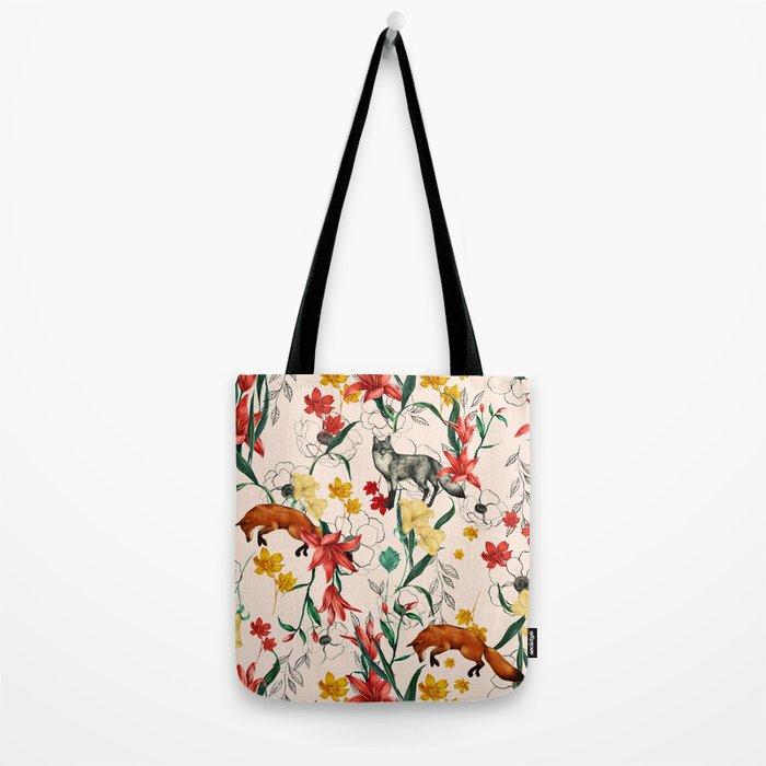 Floral Fox Tote Bag