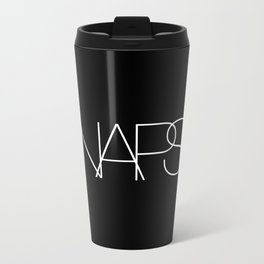 Naps Cosmetic Chic Black Typography Metal Travel Mug