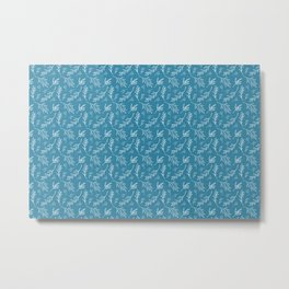 Ocean Blue & White Botanical Pattern Metal Print
