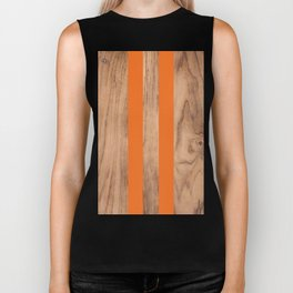 Wood Grain Stripes - Orange #840 Biker Tank
