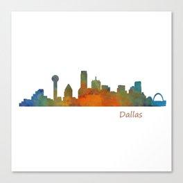 Dallas Texas City Skyline watercolor v01 Canvas Print