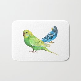 Geometric green and blue parakeets Bath Mat