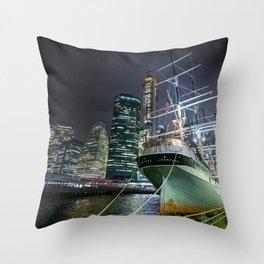 Wavertree ship in New York City Throw Pillow