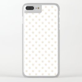 Tan Brown on White Snowflakes Clear iPhone Case