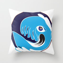 Waveboarder Smiley Throw Pillow