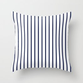 Vertical Navy Blue Stripes Pattern Throw Pillow