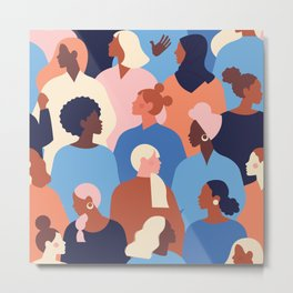 Female diverse faces of different ethnicity blue Metal Print