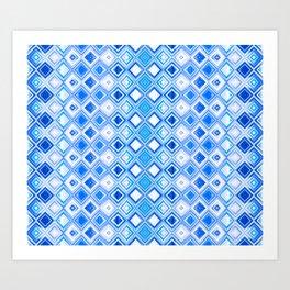 Blue and White Contemporary Geometric Diamonds Art Print