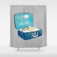 ilovedoodle Shower Curtains featuring Always bring your own sunshine by I Love Doodle