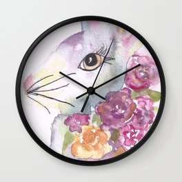 Bunny with Roses Wall Clock