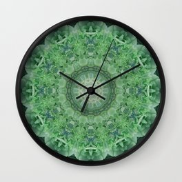 Ornamented mandala in green and blue colors Wall Clock