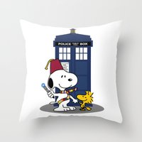 snoopy Throw Pillows featuring Snoopy Who by plasticdoughnut