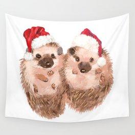 Christmas Twin Hedgehog Wall Tapestry