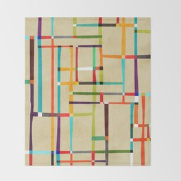 The map (after Mondrian) Throw Blanket