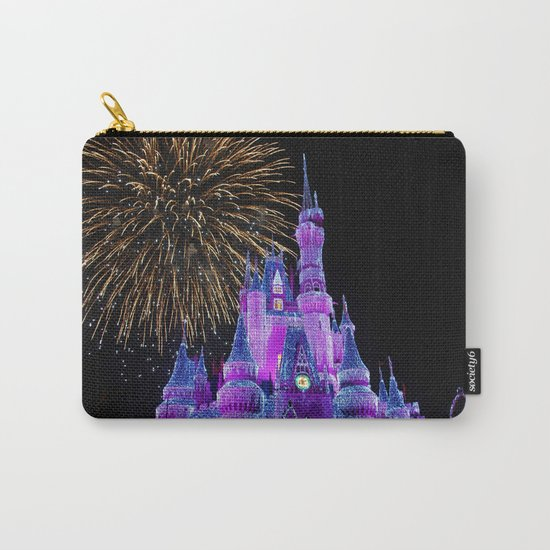 Disney Magic Kingdom Fireworks at Christmas - Cinderella Castle Carry-All Pouch
