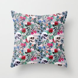 Flowers and Skulls (Pink) Throw Pillow