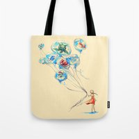 lost Tote Bags featuring Water Balloons by Alice X. Zhang