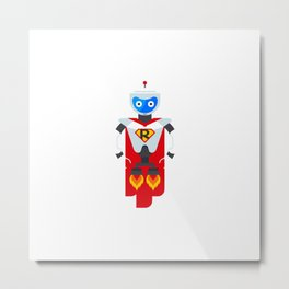 Iron Robot Superhero Character From Future Science Fiction Heroes Flat Vector Illustration Metal Print