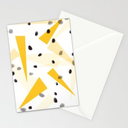 Yellow triangle and black dots Stationery Cards