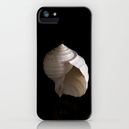 A spiral seashell is captured against a black background iPhone Case