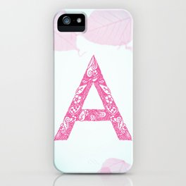 Floral Letter 'A' iPhone Case